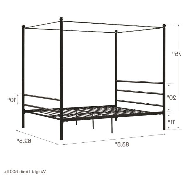 Classic Queen Size Metal Canopy Bed w/