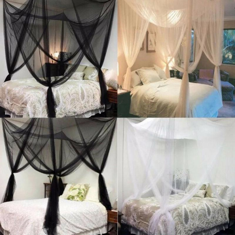 Classical 4 Bed Canopy Twin Full Queen King White/Black