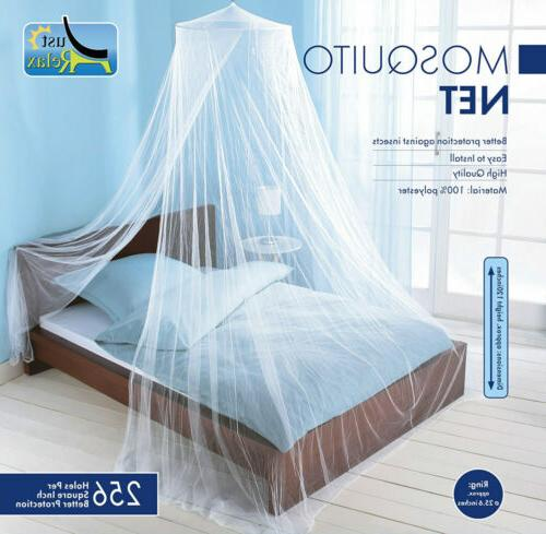 Just Relax Elegant Mosquito Net Bed Canopy Set, White, Queen