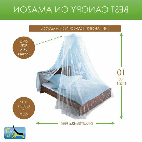 Just Relax Net Bed Canopy Set, White, Queen-King