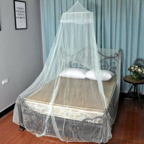 Hanging Elegant Lace Canopy Queen Mosquito Fly Net White
