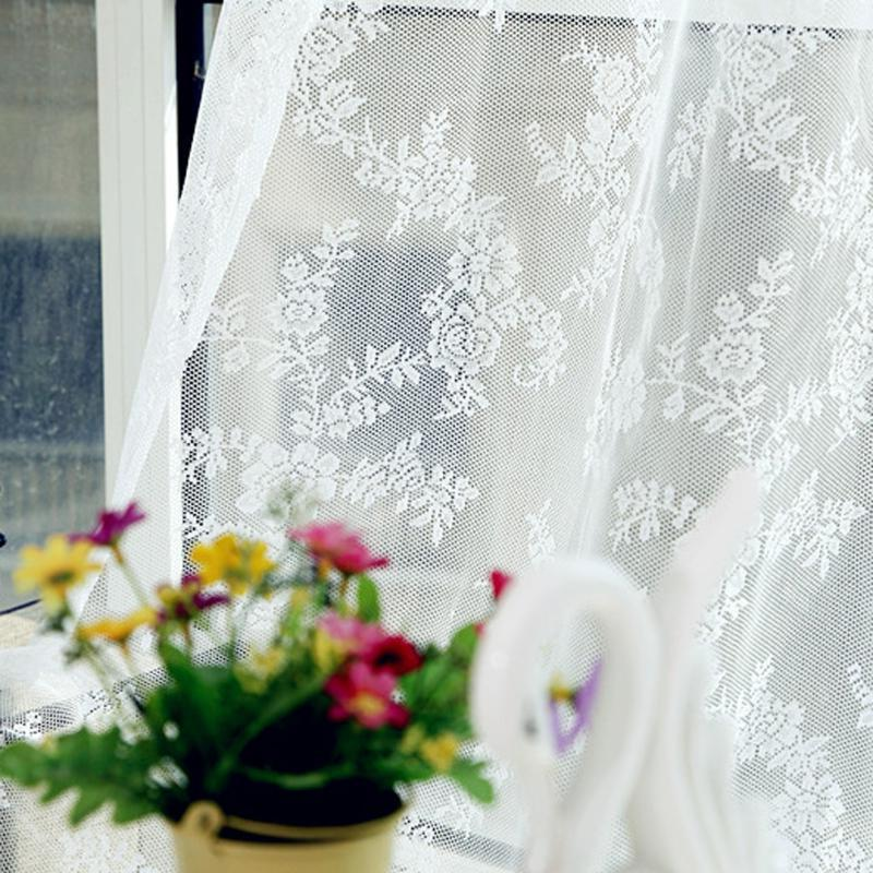 Lace Voile Tulle Curtains <font><b>Canopy</b></font> Netting <font><b>Drape</b></font> Panel Leaf for Living