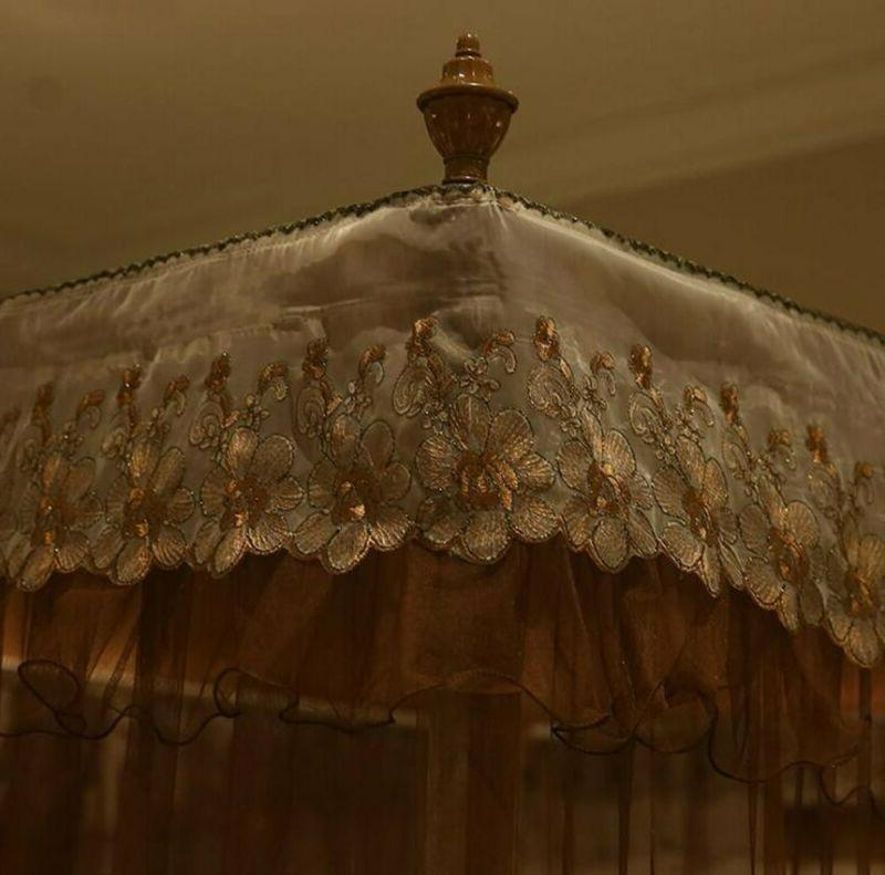 Nattey Luxury Post Bed Canopy Mosquito Netting Size Coff