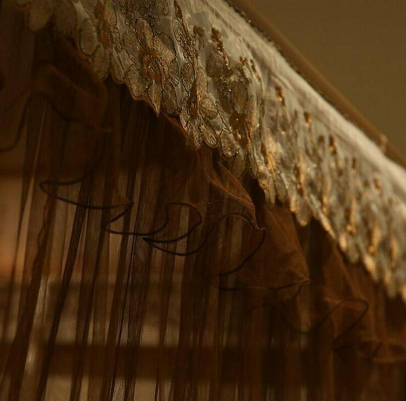Nattey Post Bed Curtain Netting (Queen, Coff