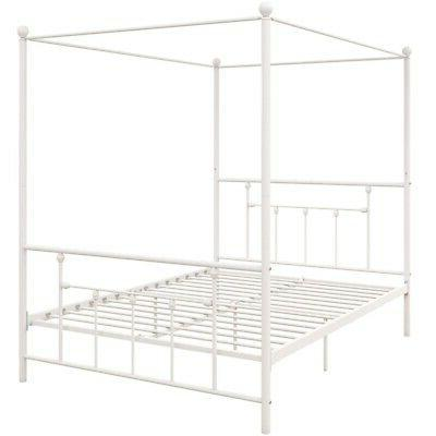 DHP Manila Metal Canopy Bed Queen Frame White