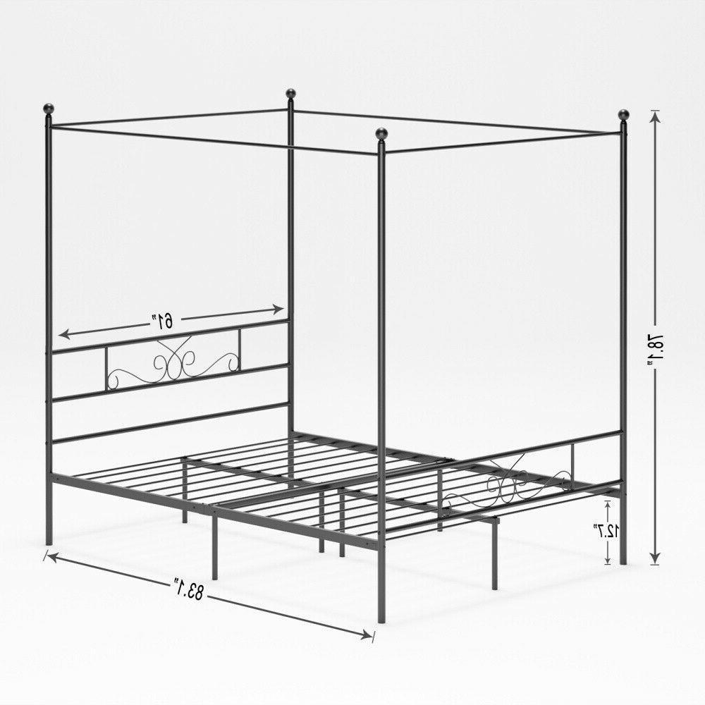 Modern 4 Canopy Frame Platform W/ Queen