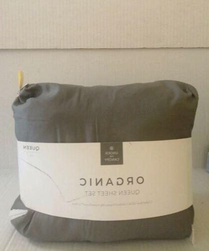 organic cotton sheet set queen solid grey