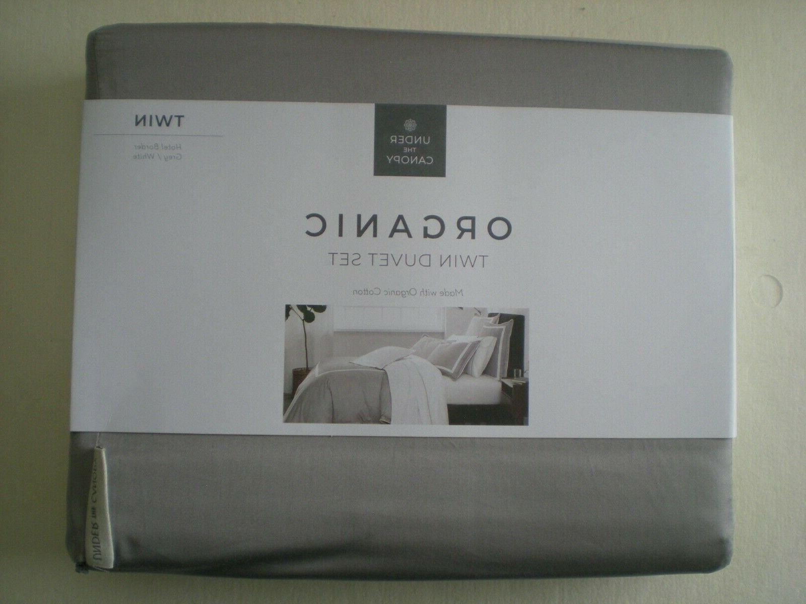 organic twin duvet set hotel border grey