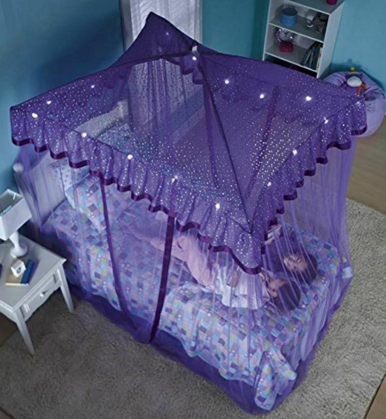 Over Bed For Girls Sparkling Kids Purple Net