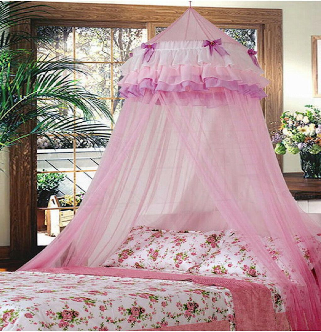 PINK PERFECT PRINCESS BED CANOPY MOSQUITO NET PINK NEW SHIP
