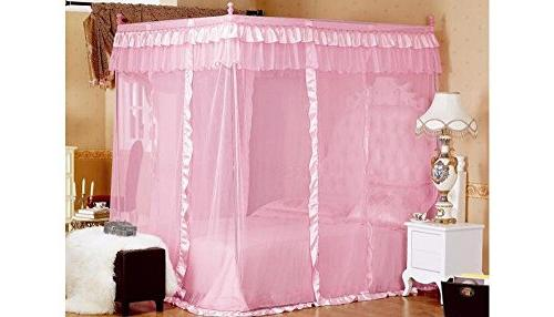 Pink Princess Post Bed Canopy Mosquito Netting