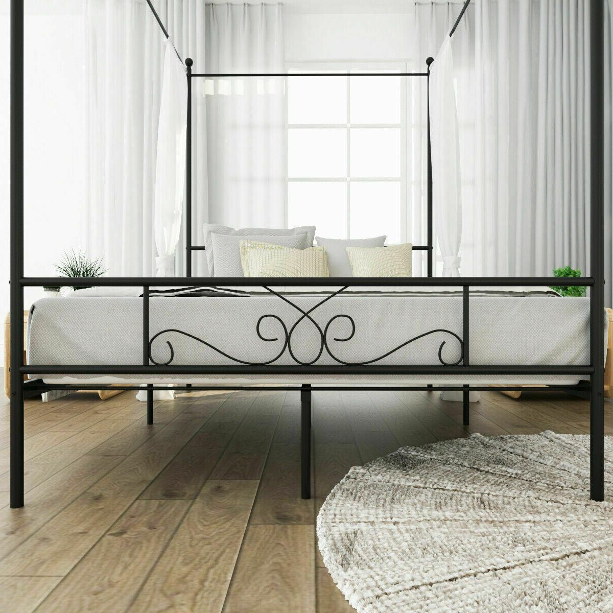 Queen Size Post Metal Canopy Frame Platform Bedroom Headboard