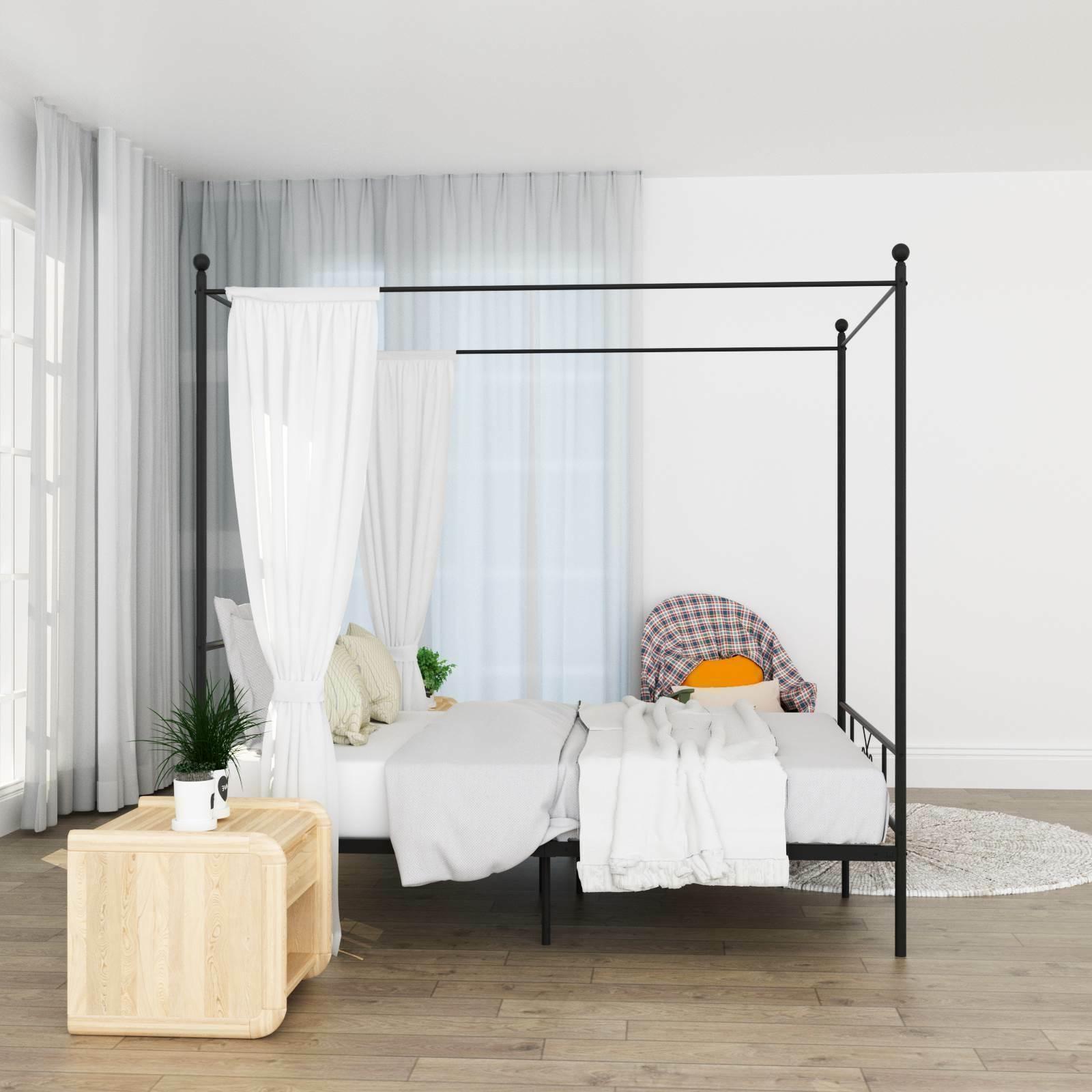 Queen Size 4 Post Metal Frame Bedroom with Headboard