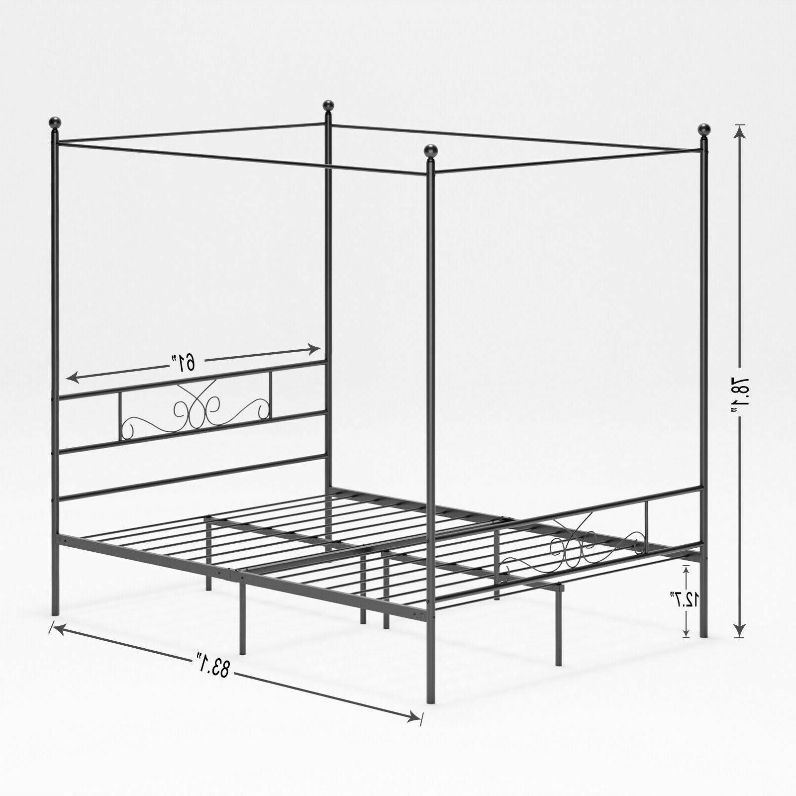 Queen Post Metal Bed Frame Bedroom