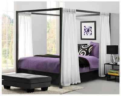 Queen Size Canopy Metal Bed Frame with Headboard Platform Mo