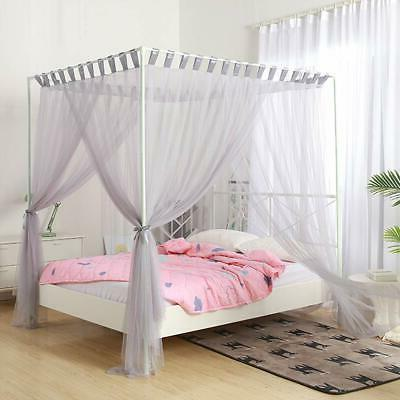 simple 4 corners post curtain bed canopy