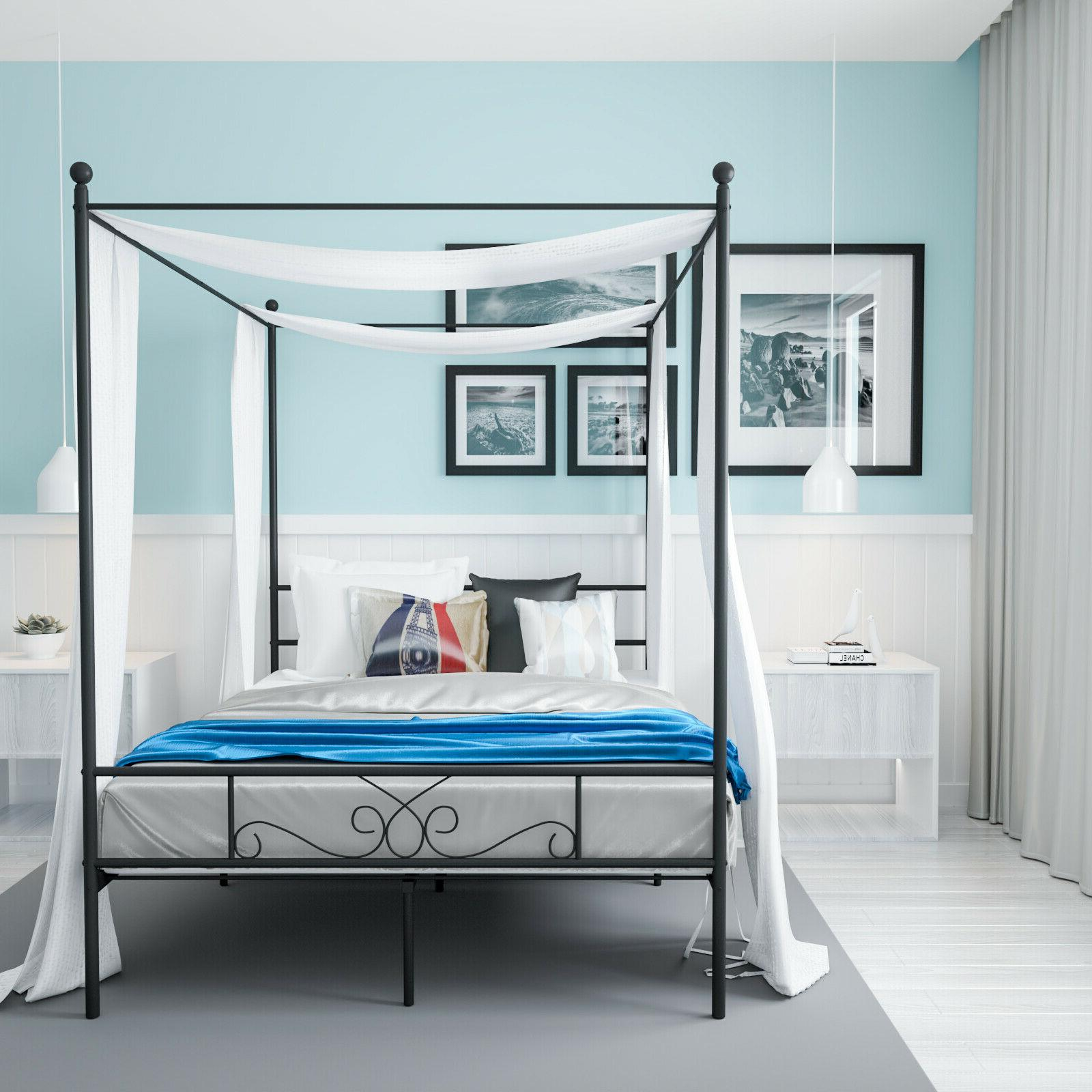Queen Size 4 Corners Post Metal Canopy Bed Frame Platform Be