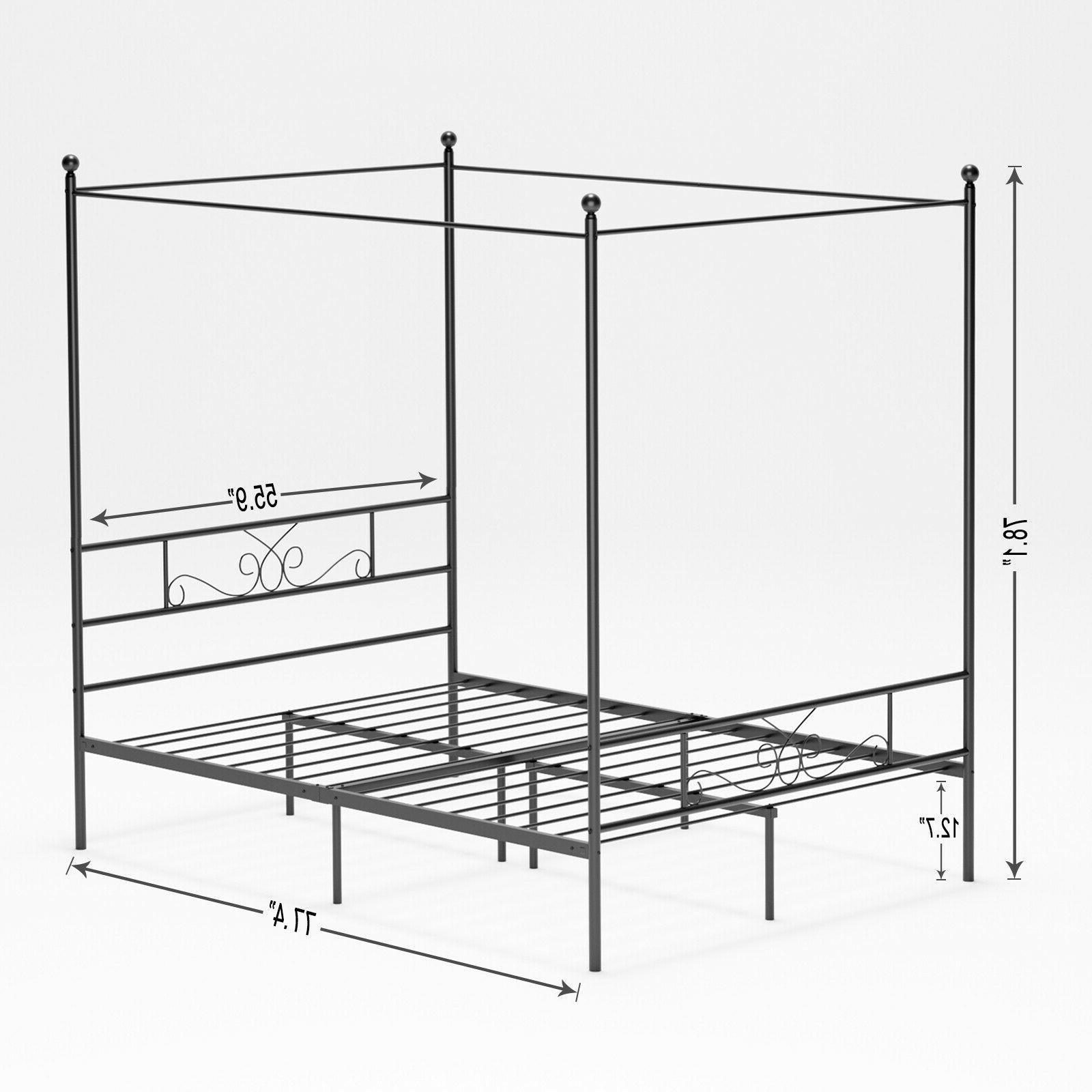 Twin Queen 4 Post Metal Bed Frame Platform Princess Girls Kids