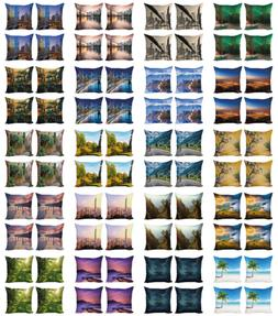 Ambesonne Landscape View Cushion Cover Set of 4 for Couch an