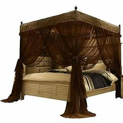 Nattey Luxury 4 Post Bed Curtain Canopy Mosquito Netting Que