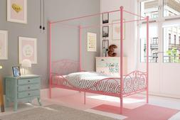 metal canopy bed with sturdy bed frame