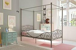 Metal Canopy Bed with Sturdy Bed Frame - Twin Size  Twin Pew