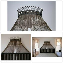 Metal Wall Teester Bed Canopy Drapery Crown Hardware Built-i