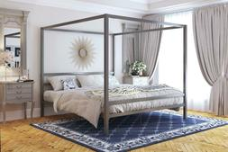 Metal Canopy Platform Bed Frame Headboard Modern Bedroom Fur