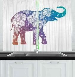 "Modern Tattoo Kitchen Curtains 2 Panel Set Window Drapes 55"""