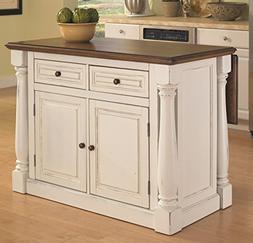Home Styles Monarch Antiqued Kitchen Island in Antiqued Whit