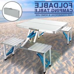 New Aluminum Folding Portable Camping Picnic Table 4 Chairs