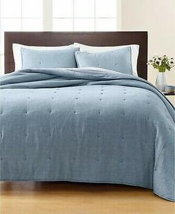 NEW MARTHA STEWART TUFTED CHAMBRAY FULL/QUEEN QUILT BLUE COT