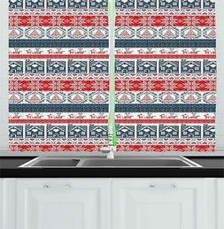 """Nordic Kitchen Curtains 2 Panel Home Window Drapes 55"""" X 39"""""""