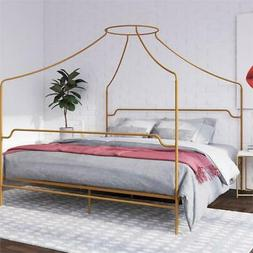 Novogratz Camilla Metal Canopy Bed in King Size Frame in Gol