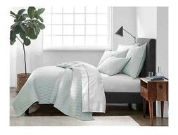 Under The Canopy Ogee Satin Weave King Quilt in Spa Blue