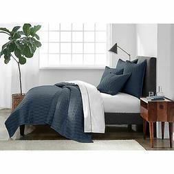 Under The Canopy Ogee Satin Weave Quilt Set  - Indigo - Size
