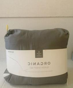 UNDER THE CANOPY Organic Cotton SHEET SET QUEEN SOLID GREY