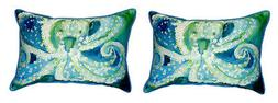 Pair of Betsy Drake Octopus Small Pillows 11 Inch X 14 Inch