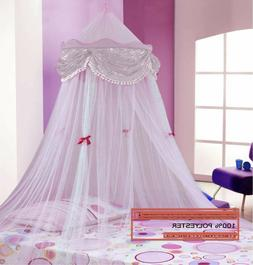 PERFECT PRINCESS BED CANOPY MOSQUITO NET WHITE with Sequins
