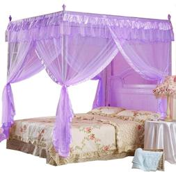 Mengersi Princess 4 Corners Post Bed Curtain Canopy Mosquito
