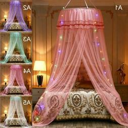 Lace Bed Canopy Mosquito Net Elegant Mesh Princess Round Dom