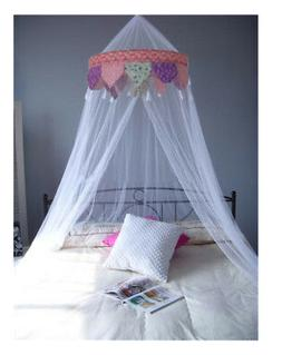 Princess ROSES Ruffle Princess White Bed Canopy FREE SHIPPIN