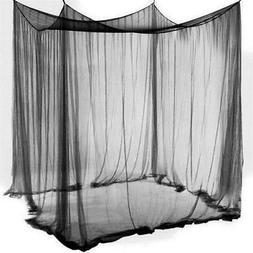 Queen King Size 4 Corner Post Bed Mosquito Net Bar Curtain N