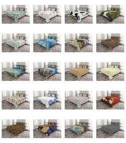 Ambesonne Quilted Bedspread Set Bedroom Decor Printed Coverl