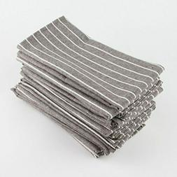 INFEI Soft White Striped Linen Cotton Dinner Cloth Napkins -