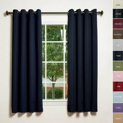 solid thermal insulated blackout curtains 52wx108l navy