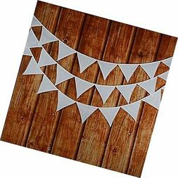 INFEI Solid White Double Layer Cotton Fabric Flags Bunting B