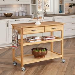 Solid Wood Top Kitchen Cart