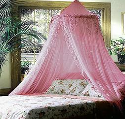 SPARKLE BLING BED CANOPY MOSQUITO NET PINK - QUEEN FREE SHIP