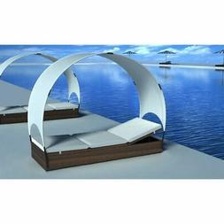 vidaXL Sun Lounger with Canopy Poly Rattan Brown Outdoor Gar